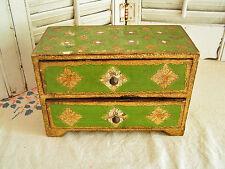Vintage Florentine Jewelry Box, Italian 2 Drawer Miniature Chest Gilt Gold