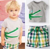 2Pcs Toddler Kids Boys Summer Tops T-shirt Plaid Shorts Casual Outfits Set New