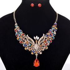 GOLD TONE MULTI-COLOUR PEACOCK RHINESTONE CRYSTAL NECKLACE SET WITH BLUE DROP