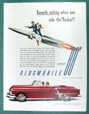 Orig 1953 Oldsmobile 88 De Luxe Covertible in Victoria Maroon Ad SMOOTH SAILING