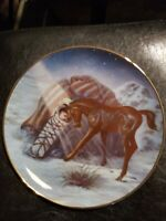 """horse native child collectible vintage American Plate """"Silent Light"""" 1988"""