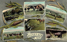 Broken Bow,NE.6 Vignettes,Custer County,Used,K.C.& Wellington R.R. RPO,1910