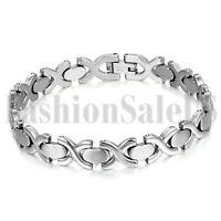 Men's Women's Stainless Steel Silver Tone Cuff Bangle Love Heart Charm Bracelet
