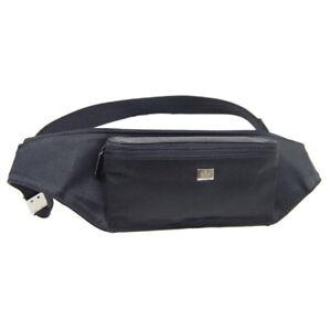 GUCCI Logos Belt Bum Bag 005 0766 002046 Purse Black Nylon Vintage Italy 41090