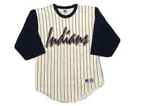 Vintage Cleveland Indians Baseball Shirt Mens Medium Pinstripe Russell Athletic