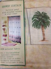 S02 Vintage Plam Tree Bathroom Shower Curtain Set w/ Vinyl Liner Plastic n Hooks