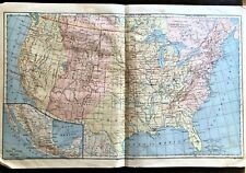 HUGE Vintage Color Map ~ COMMERCIAL Map of United States Railways ~ Printed 1883