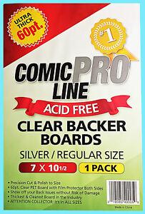 1 COMIC PRO LINE Crystal CLEAR SILVER / REGULAR SIZE 60pt BACKER BOARD Backing