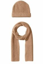 New 100% Cashmere Wool Scarf Beanie Watch Cap Knit Hat Camel Beige $300