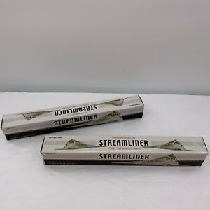Lot of 2 Streamliner Three Car Wind-up Chrome Plated Tin Train (Parts or Repair)