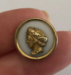 18mm small antique brass & glass cameo picture button
