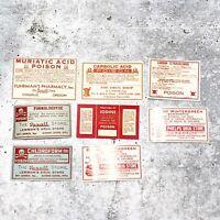 Vintage Drug Store Pharmacy Ephemera Label Mixed Lot Poison Halloween Decor Set