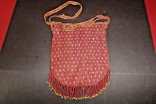RARE ANTIQUE 19th C METAL COLORED BEADS WEAVING EMBROIDERY HAND MADE WALLET