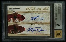 Michael Jordan LeBron James 2007 Fleer Double Scribble Dual /23 BGS 9 w/10 AUTO