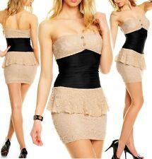 SeXy MiSS Damen Bandeau Peplum Spitze Mini Kleid 32/34/36 Dress beige schwarz