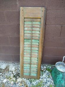 Antique Wood Exterior House Shutter Sash Green Louvered