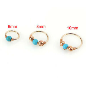 2PC Nose Ring Turquoise Hoop Nose Earring Piercing Plated Charm Trendy Jewelry