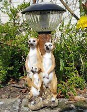 Erdmännchen Familie Solar Laterne Lampe Figur Deko Skulptur Garten Geschenk