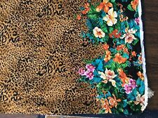 "Hawaiian tropical cheetah animal print double border rayon fabric, 56""w, BTY"