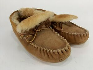 LL Bean Wicked Good Moccasins Slippers Brown Suede Sheepskin Lined Mens 8 WIDE
