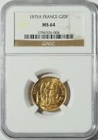 """1875A Gold 20 Franc NGC MS64 -- """"Lucky"""" Angel Coin"""