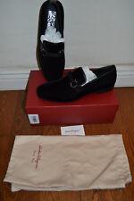 NIB $680 Salvatore Ferragamo Party Velvet Dress Slip On Loafers Shoes - Sz 11 D