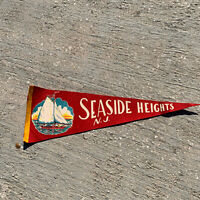 "Vintage Seaside Heights NJ Sailboat Red Banner Pennant 24"" No Tassel"