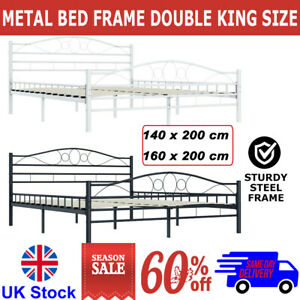 Metal Bed Frame Double King Size with Slatted Base Bedstead Bedroom Multi Size