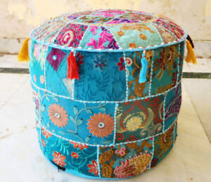 """14X18"""" Indian Patchwork Pouf Moroccan Seat Handmade Footstool Ottoman Embroider"""