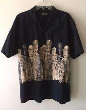 Kamaro Menswear Hawaiian Shirt Tiki Button Front Short Sleeve Black Men's Large
