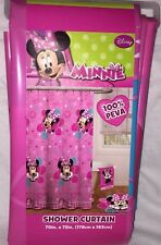 Disney Minnie Mouse Pink Polka Dot Bows Hearts Plastic Bathroom Shower Curtain