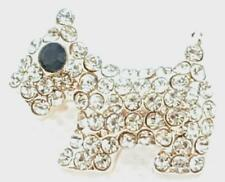 Womens Ladies Brooch New Cute Scotty Dog Themed Diamante Rhinestone Crystal CZ