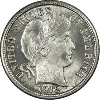 1912 Barber Dime AU About Uncirculated 90% Silver 10c US Type Coin Collectible