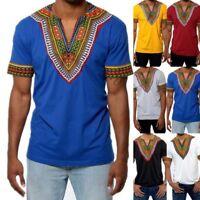 African Tribal Shirt Men Dashiki Print Crew Neck Casual Hippie Loose Top Blouse