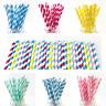 20/40/80/120 Stripe Colours Paper Straws Drinking Birthday Wedding Party