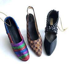Decorative Shoe Ornaments Glitter PVC Womens Pumps Heels Jewel Slingback Lot