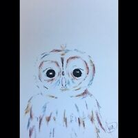 Maria Scalf Owl Animal Bird Expressionism ORIGINAL PAINTING Watercolor 9x12 Cute