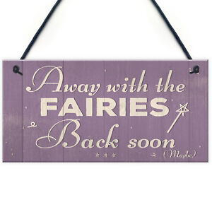 Away With The Fairies Novelty Hanging Chic Plaque Novelty Fairy Garden Sign