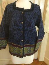Womens OLEANA Norwegian 100% Wool Velvet Trim Cardigan Sweater Small