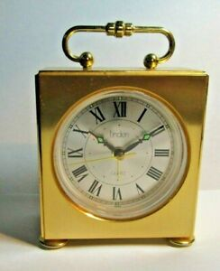 Vintage Linden Miniature Gold Carriage Working Alarm Clock