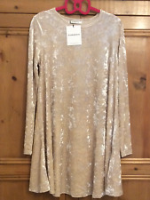 Glamorous Size XS 6 8 Cream Velvet Mini Swing DRESS Party Occasion Evening Fab