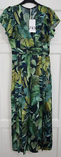 ZARA SS2020 PRINTED JUMPSUIT PLAYSUIT BLUE / GREEN FLORAL 2817/271 BNWT XS 4 6