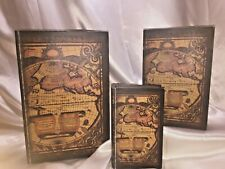 Three Nesting Wooden Book Boxes With Old World Atlas Cover