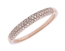 10k Rose Gold Ladies Pave Diamond 3mm Domed Fashion Wedding Band Ring 0.15 ct