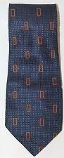 Bossini Men Neck Tie Made In Italy Blue Geometric Orange 100% Silk Classic