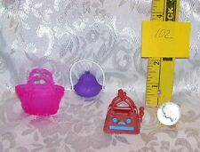 MATTEL GENUINE MONSTER HIGH GIRL GOTH DOLL PURSE ACCESSORY LOT OF 3 #102