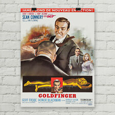 Goldfinger James Bond 007 Movie Poster Canvas Art Print Sean Connery French Rare