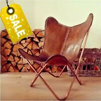 BUTTERFLY CHAIR -RICH BROWN/ LEATHER CHAIR/ RELAXING CHAIR- UK  SELLER
