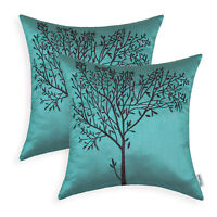 2Pcs Cushion Covers Pillow Case Teal Brown Natural Tree Embroidered Sofa 45x45cm