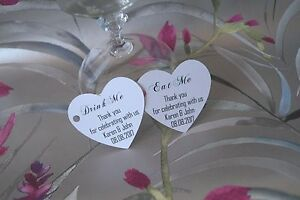 20-100 WEDDING HEART PERSONALISED DRINK ME/ EAT ME FAVOUR GIFT TAGS LABELS